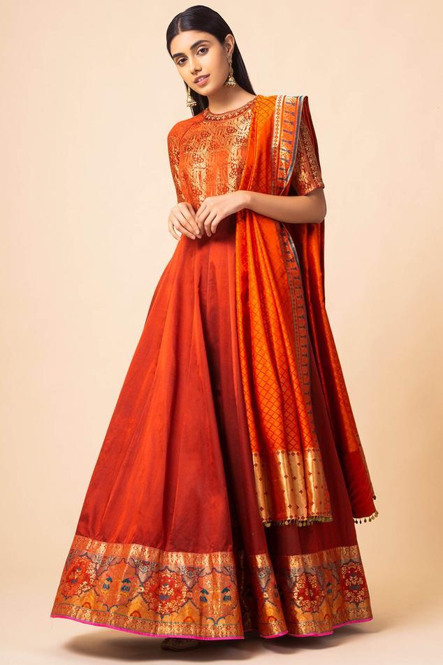 Handwoven Banarasi Silk Anarkali with Dupatta
