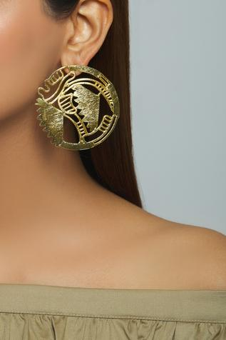 Carved Circular Earrings