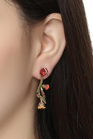 Floral Stone Dangler Earrings