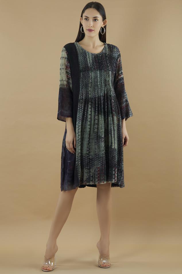 Pintuck Flared Dress