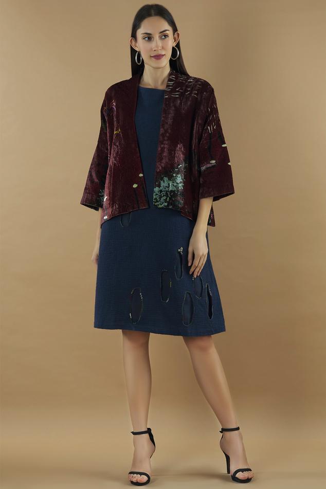 Silk Velvet Printed Jacket