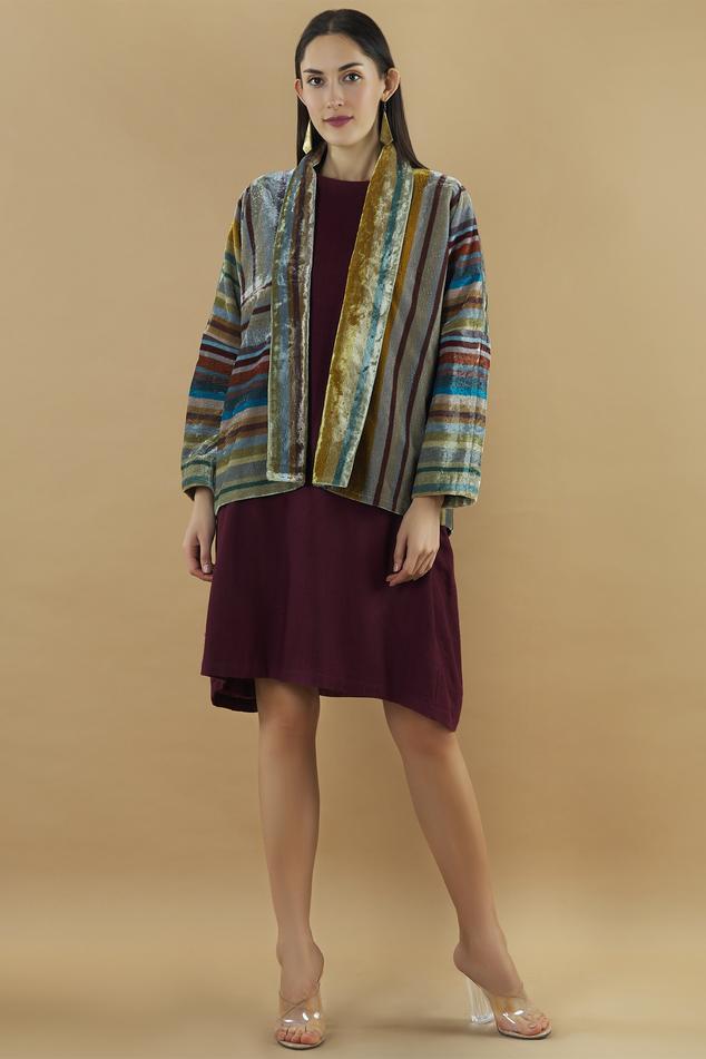 Silk Velvet Striped Jacket