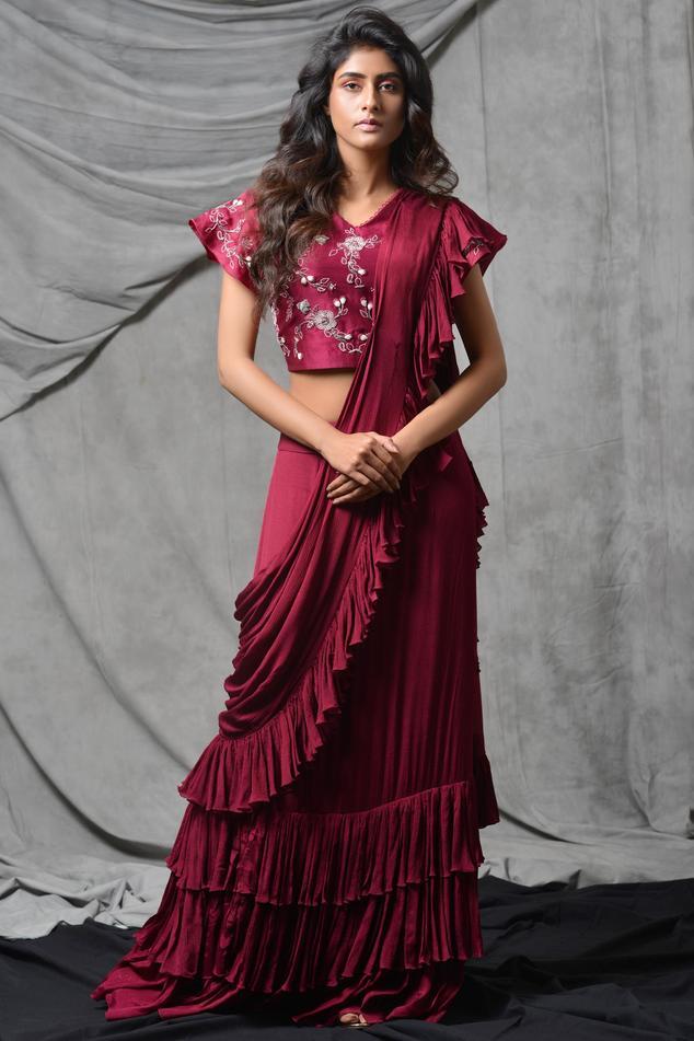Silk Chanderi Pre-Draped Ruffle Saree with Blouse