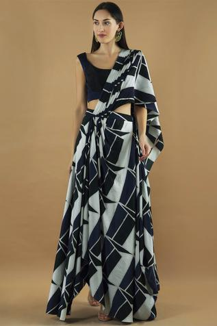 Pre-Draped Painted Saree with Blouse