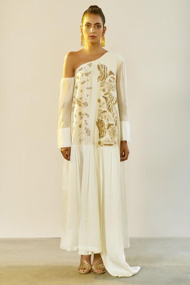 Chanderi One Shoulder Gown