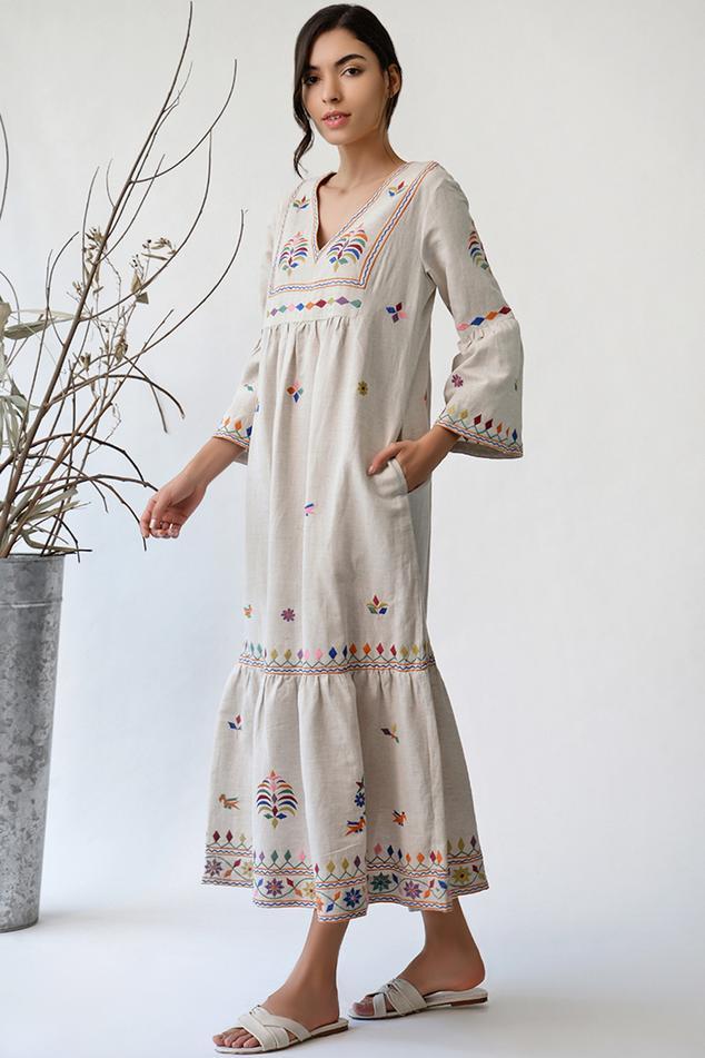 Cotton Linen Embroidered Dress