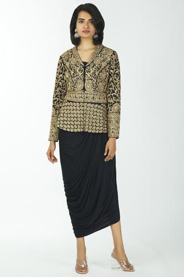 Silk Jacket with Draped Dress