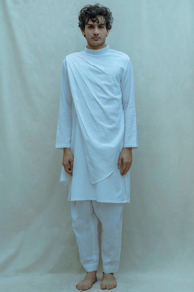 Linen Draped Kurta Set