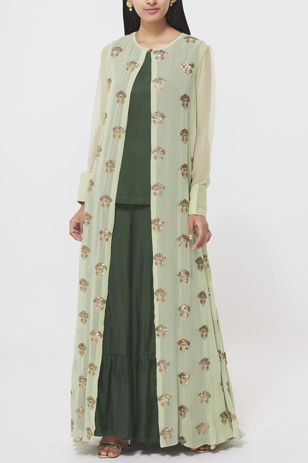 Embellished Jacket Sharara Set