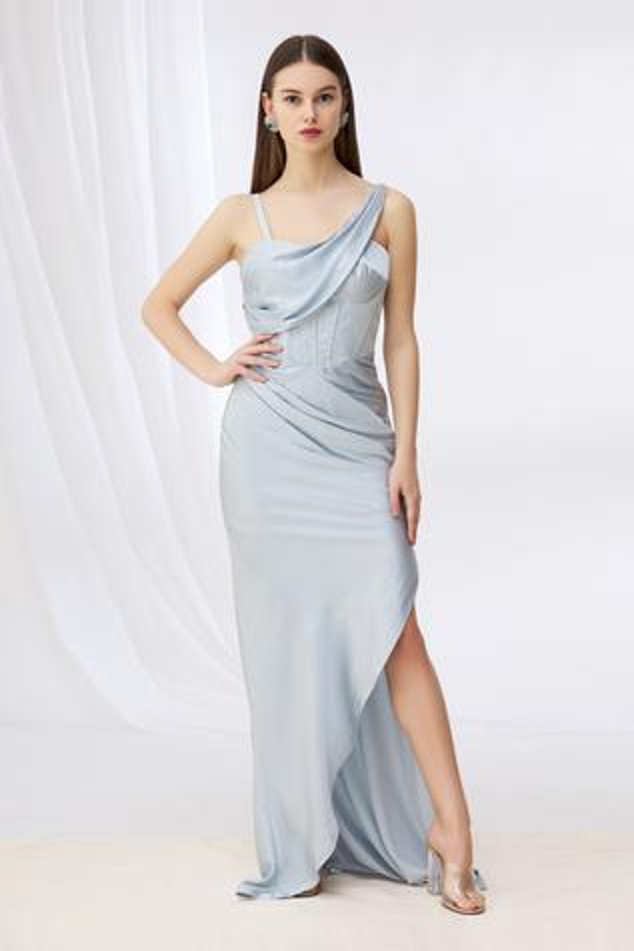 Draped Slit Gown
