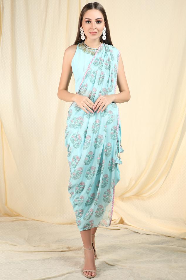 Pre-Draped Printed Saree with Blouse