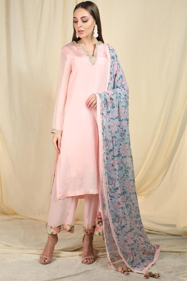 Silk Embellished Kurta Pant Set
