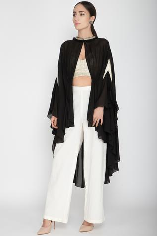 Embellished Cape with Crop Top