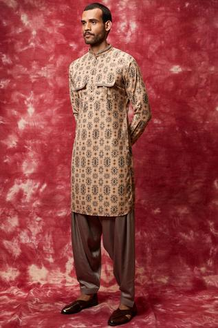 Printed Kurta Pathani Set