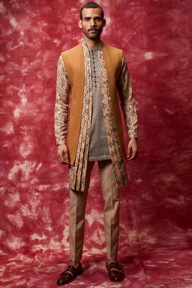 Asymmetric Jacket Kurta Set