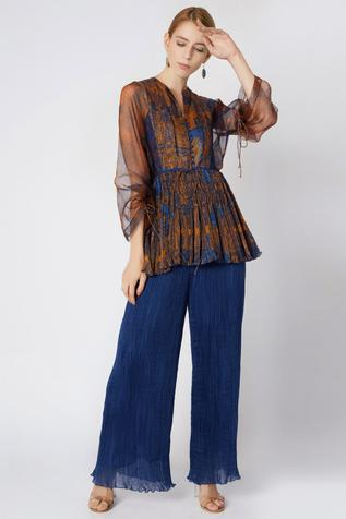 Cotton Silk Printed Blouse with Inner