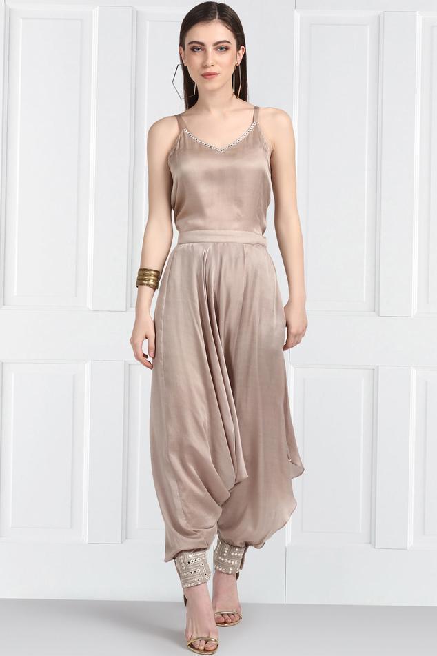 Embellished Draped Pants