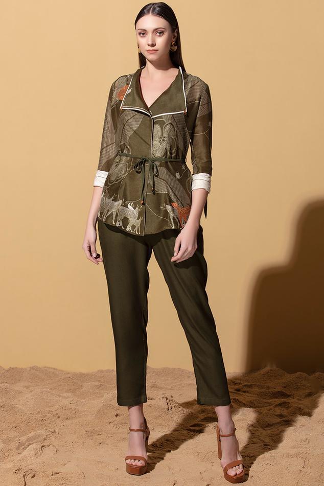 Chanderi Printed Jacket with Bodysuit