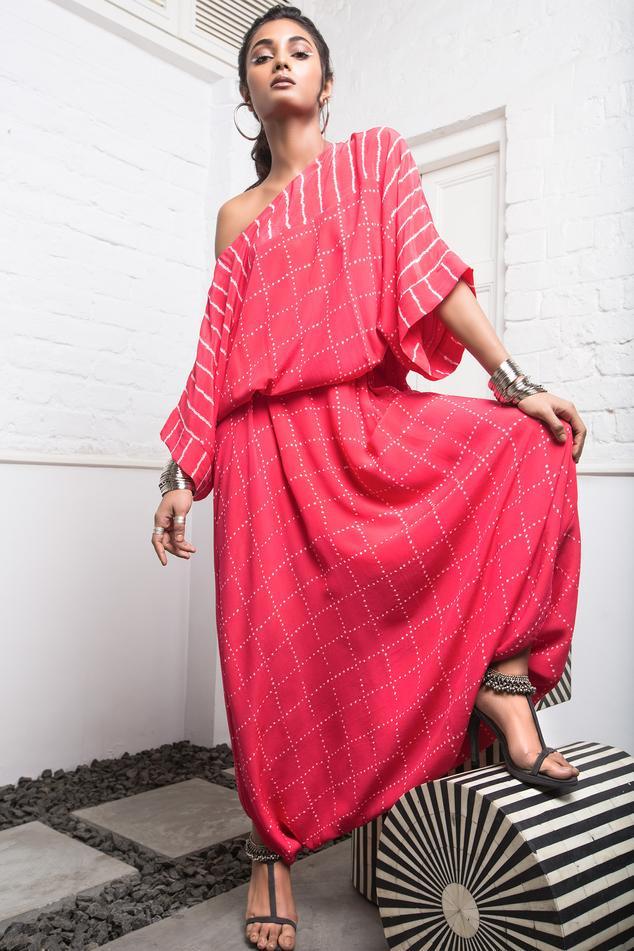 Bandhani Draped Jumpsuit