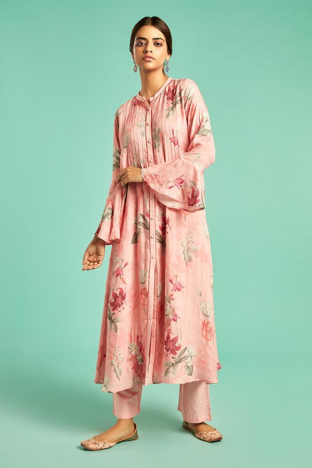Muslin Silk Printed Kurta & Pant Set