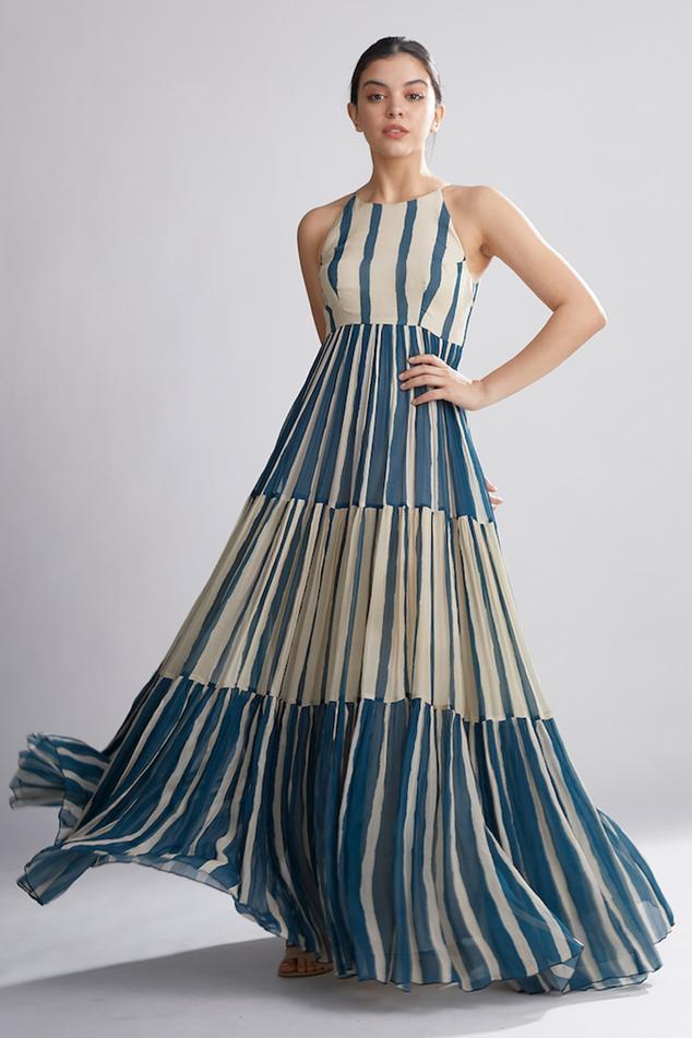 Striped Tiered Maxi Dress