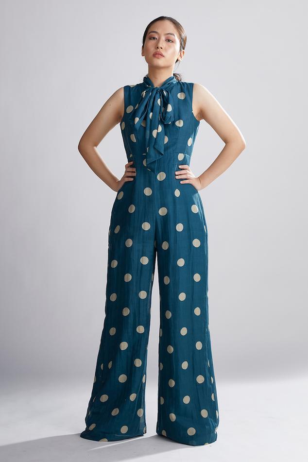 Polka Dot Cotton Silk Jumpsuit