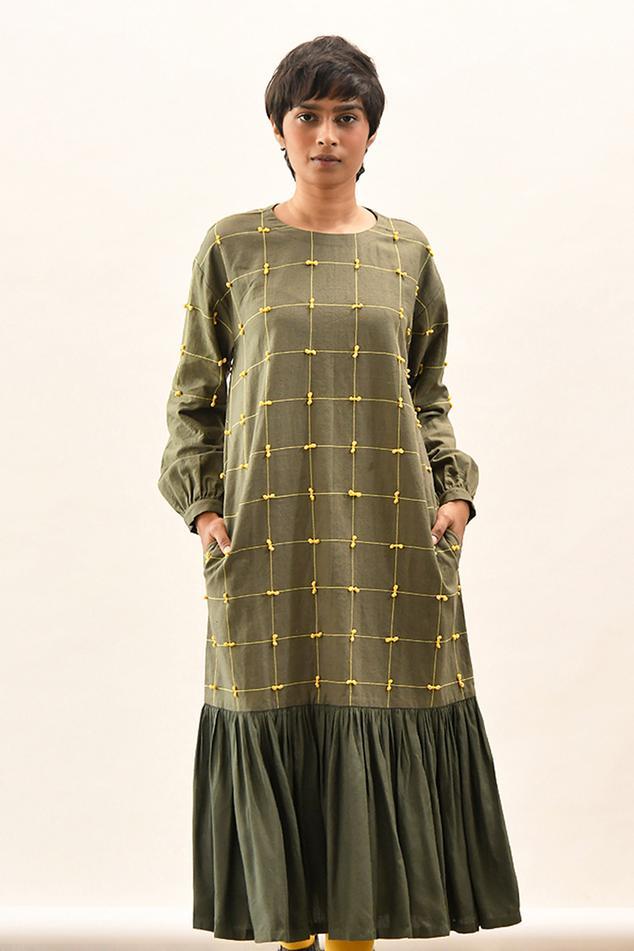 Handloom Cotton Checkered Sura Dress
