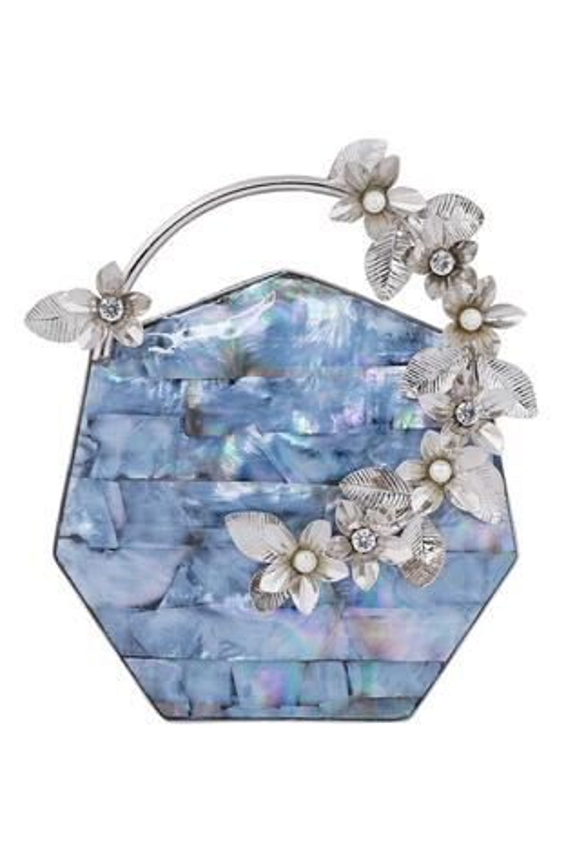 Floral Embellished Hexagon Clutch
