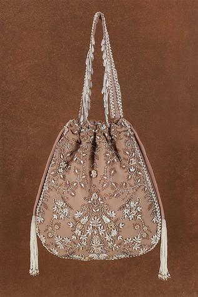 Siah Floral Kundan Embellished Potli Bag