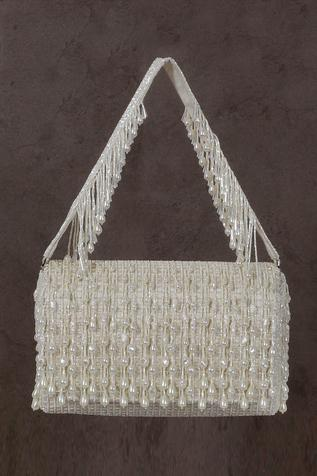 Opal Bead Embellished Flapover Clutch