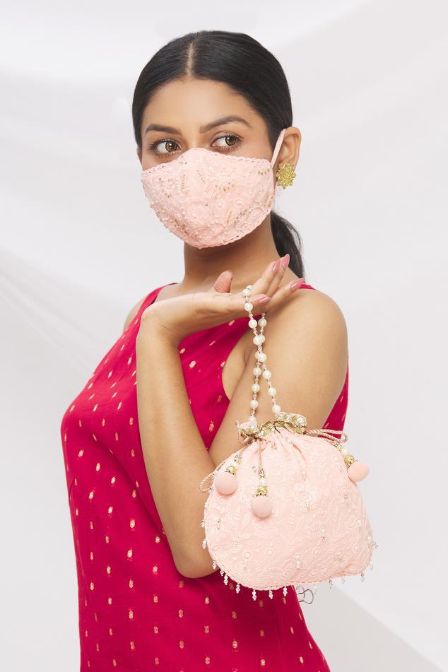 Chikankari Embroidered Potli Bag with Face Mask