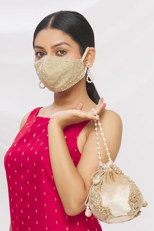 Velvet Embroidered Potli Bag with Face Mask