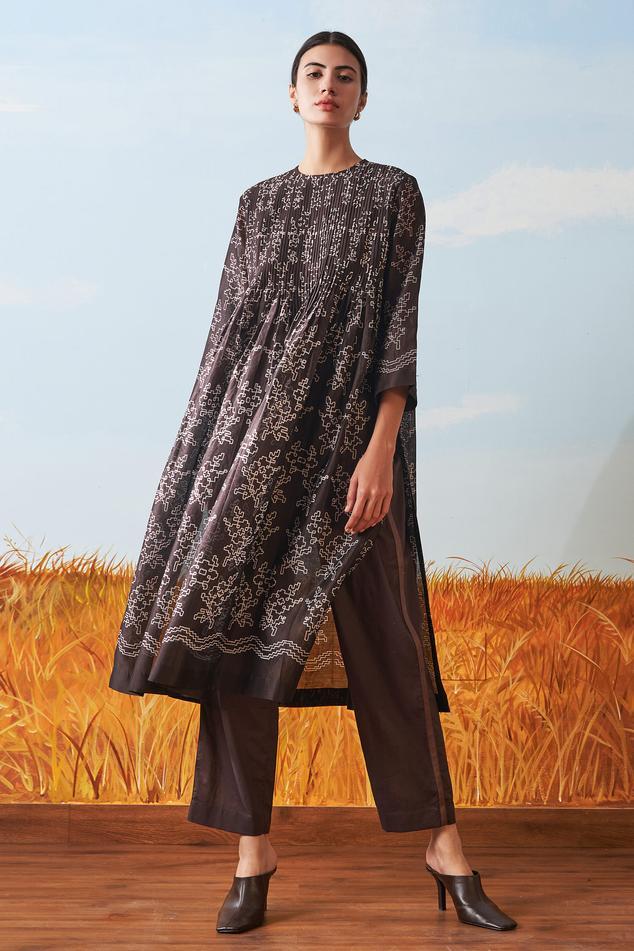 Cotton Silk Chanderi Pleated Kurta & Pant Set