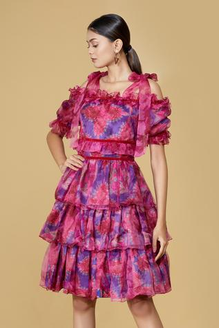 Organza Cold Shoulder Layered Dress