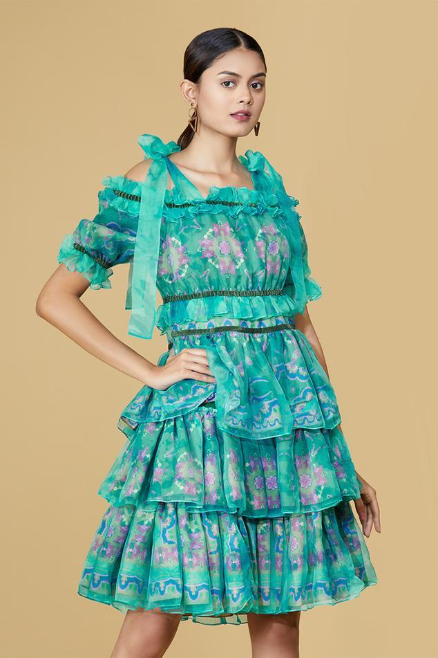 Organza Cold Shoulder Layered Dress