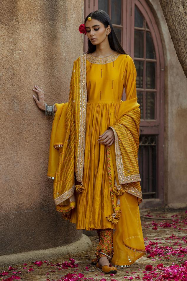 Silk Chanderi Anarkali Set