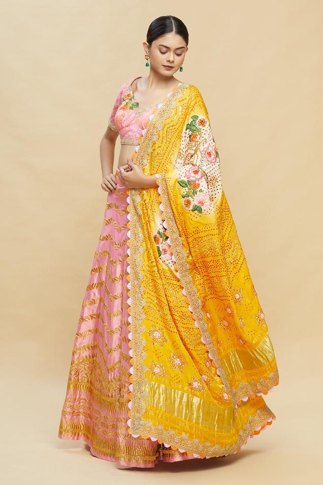 Embroidered Kalidar Lehenga Set