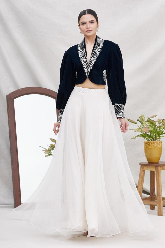 Velvet Cropped Jacket & Skirt Set