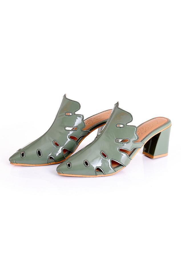 Block Heel Pointed Toe Mules