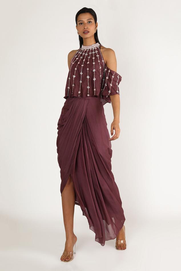 Cold Shoulder Top & Draped Skirt Set
