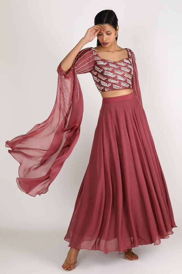 Draped Blouse & Skirt Set
