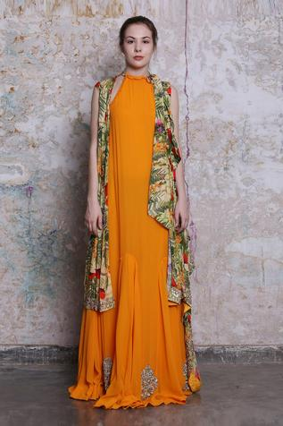 Panelled Maxi Dress with Jacket