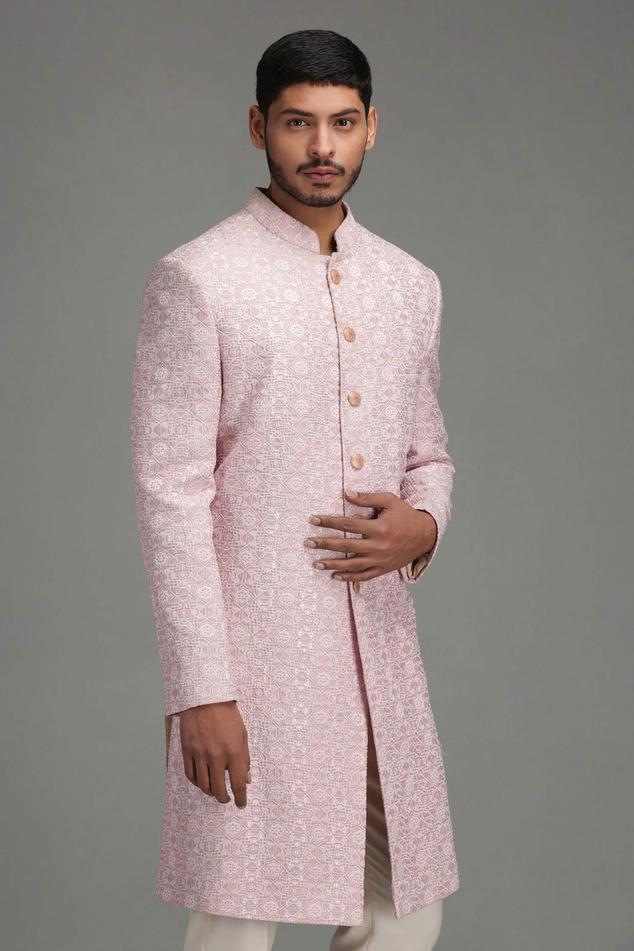 Linen Silk Embroidered Sherwani Set