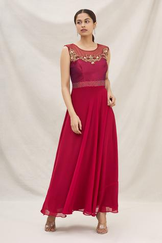 Embroidered Empire-Waist Gown