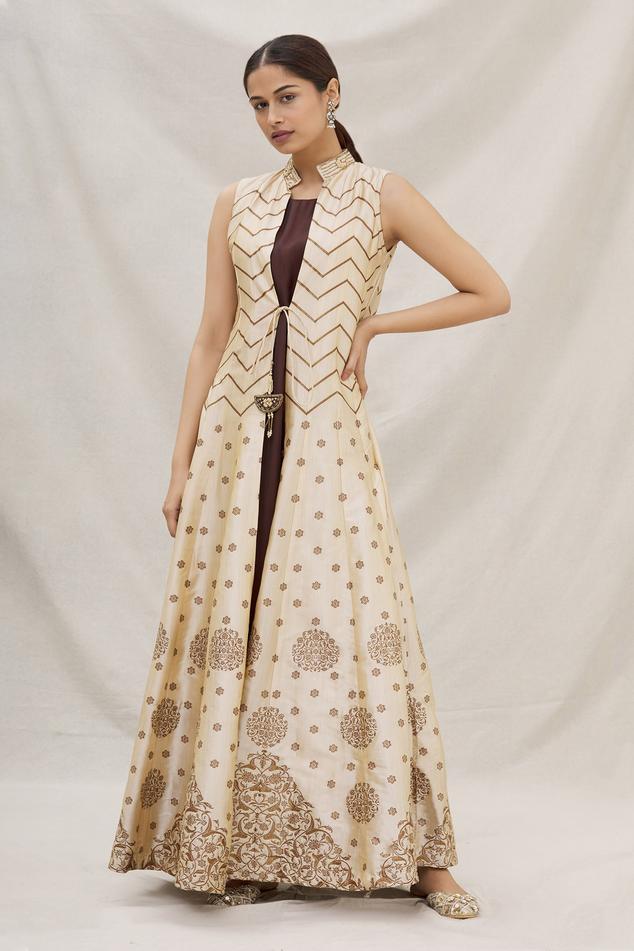 Silk Printed Jacket Kurta