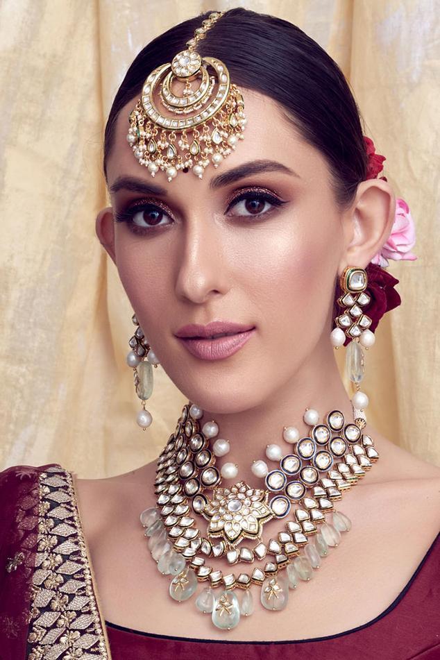 Handmade Kundan Polki Pendant Necklace Set