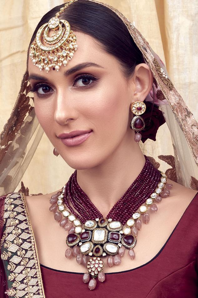 Amulya Kundan Polki Pendant Necklace Set
