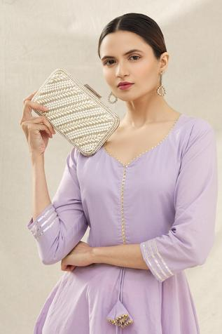 Handcrafted Embellished Box Clutch with Sling