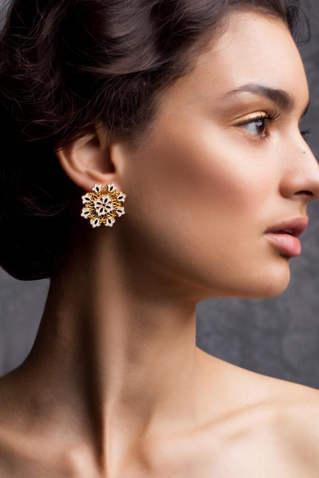 Floral Enamel Stud Earrings
