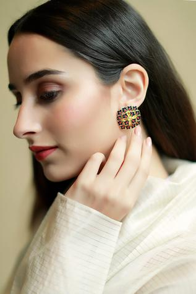 Floral Enamel Stone Stud Earrings